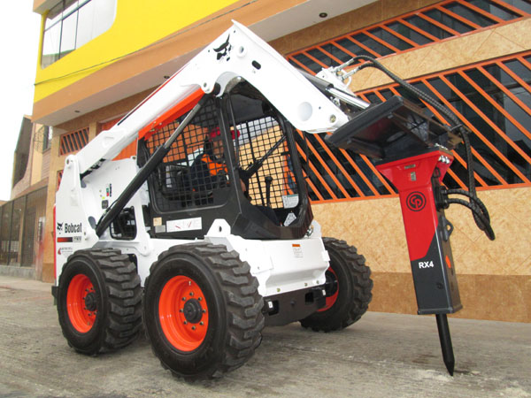 RX 500 Lb. Hammer mounted on BobCat Skidsteer